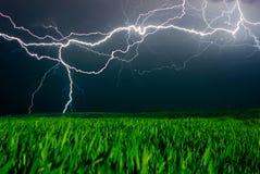 Blitz über dem Feld Lizenzfreie Stockbilder