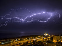 Blitz über der Stadt Stockbilder