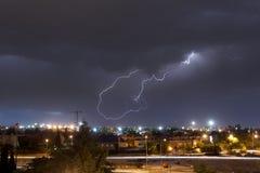 Blitz über der Stadt von Madrid, Spanien Stockfotografie