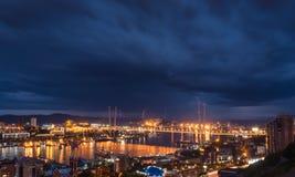 Blitz über Stadt Stockbild
