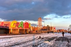Blitz-Achterbahn - Coney Island Lizenzfreies Stockfoto