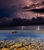 Blitz auf dem Meer, Krim Stockbild
