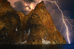 Blitz auf den Hügeln, Krim Stockfotografie