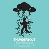 Blitz auf einem Mann-Symbol Stockbild