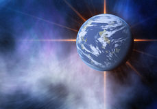 Blitz des Raumplaneten Kosmoshimmelhintergründe Lizenzfreie Stockfotografie