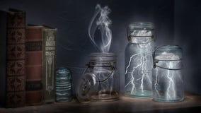 Blitz in einer Flasche Stockbild