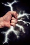 Blitz in einer Hand Lizenzfreies Stockfoto