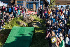 2013 Blitz to the Barrel - Geoff Kabush. Canadian Olympic mountain biker jumping the Tetherow Golf Club jump during the 2013 Blitz to the Barrel.  Geoff finished Royalty Free Stock Photography