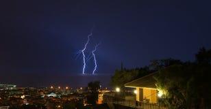 Blitz und Gewitter auf dem Tigullio-Golf - Chiavari - Italien Lizenzfreies Stockbild
