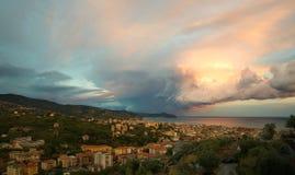 Blitz und Gewitter auf dem Tigullio-Golf - Ligurier meeres- Chiavari - Italien Lizenzfreie Stockfotos