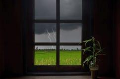 Blitz und Regnen in der Fensteransicht Stockfoto