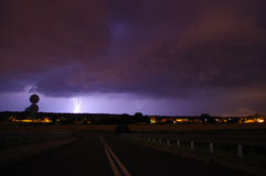 Blitz während des Sturms Stockfotografie