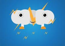 Blitz-Wolke auf blauem Hintergrund im Konzept der Karikaturkunst Stockfoto