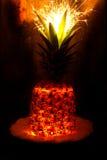 Blitzananas mit Feuerwerk Lizenzfreie Stockbilder
