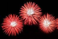 Blitze von Feuerwerken der roten Farbe Stockbild