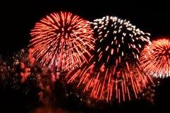 Blitze von Feuerwerken der roten und weißen Farbe Stockfoto