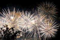 Blitze von weißen Grußfeuerwerken gegen den schwarzen Himmel Lizenzfreie Stockfotografie