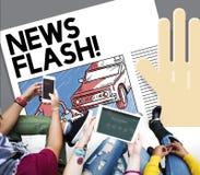 Blitznachrichten-Mitteilung, Berichts-Konzept der letzten Nachrichten Stockfotos