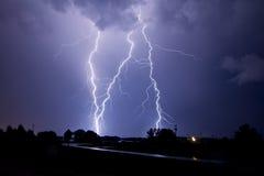 Blitzschläge dreimal! Lizenzfreie Stockfotos