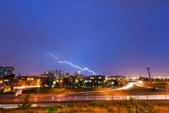 Blitzschlag über Denver Lizenzfreies Stockfoto