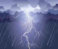 Blitzschlag und Regen stock abbildung