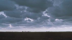 Blixt i skyen Elektriska urladdningar i himlen lager videofilmer
