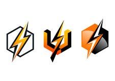Blixt logo, symbol, åskvigg, kub, elektricitet, elkraft, makt, symbol, design, begrepp Arkivfoton