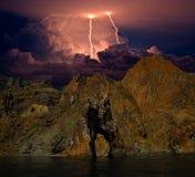 Blixt på havet, Krim Royaltyfria Bilder