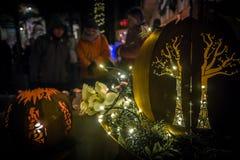 Blixtbunkegarnering på julmarknaden arkivfoto