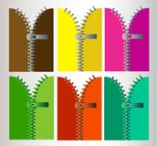 Blixtlås i sex olika färger royaltyfria foton