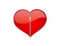 Blixtlåsförsedd bruten hjärta arkivfoto