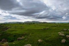 Blixtlandskap med stormmoln Royaltyfri Foto