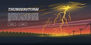 Blixtslag och regn Åskväderdag i dalbakgrunden åskabult, effekt för gnistrandeexponeringsglöd natt vektor illustrationer