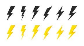Blixtsymbolsupps?ttning Åska och bult Pr?lig symbol h?rlig bultblixt f?r bakgrund Svart och gul kontur ocks? vektor f?r coreldraw stock illustrationer