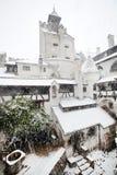 Blizzard über Kleie-Schloss Stockbild