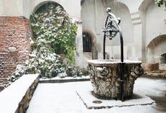 Blizzard über Kleie-Schloss Stockfotografie