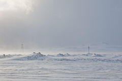 Blizzard. Electric Pylons on Hellisheidi Moor, between Reykjavik & Selfoss, during a blizzard Royalty Free Stock Photo