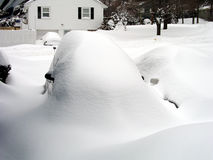 Blizzard. Snow blizzard with snow covering car Stock Photography