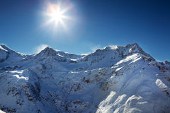 Blizzard atop the alps Stock Photos