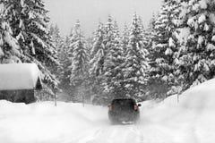 Blizzard auf den österreichischen Alpen Stockbild