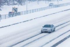 Blizzard auf der Straße Stockbild