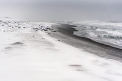 Blizzard auf einem Strand des Pazifischen Ozeans mit schwarzem Sand Lizenzfreie Stockbilder