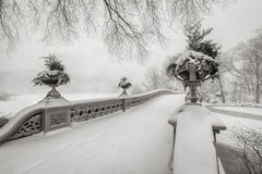 Blizzard in Central Park. Bow Bridge covered in snow, NYC Stock Images