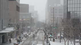 Blizzard in the city stock footage