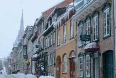 Blizzard in de oude stad van Quebec Royalty-vrije Stock Foto's