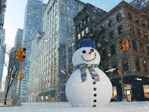 Blizzard in de stad van New York bouw sneeuwman het 3d teruggeven Stock Foto