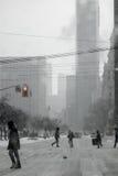 Blizzard in der Stadt Lizenzfreie Stockfotos