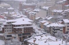 Blizzard in der Stadt von Veliko Tarnovo Lizenzfreie Stockfotografie