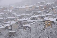 Blizzard in der Stadt von Veliko Tarnovo Lizenzfreies Stockbild