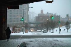 Blizzard do inverno do Natal de New York City imagem de stock